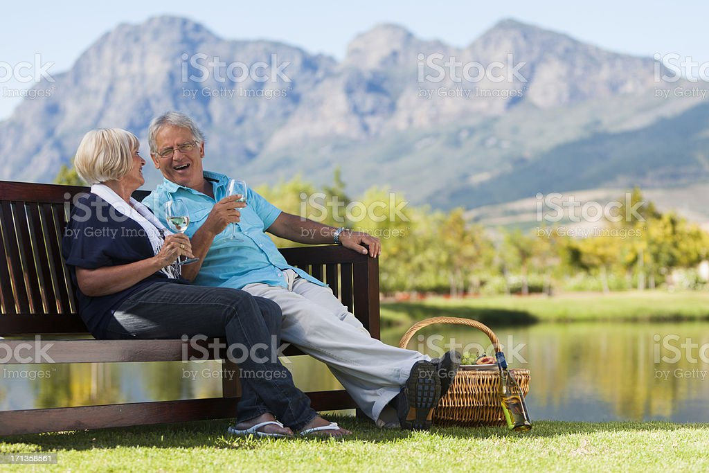 Mature Couple at Park stock photo