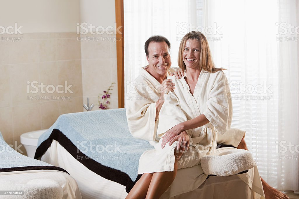 Mature couple at spa stock photo