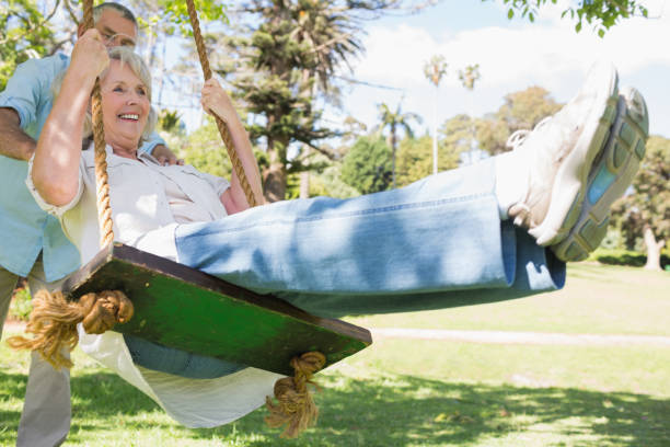 Royalty Free Swing Senior Adult Swinging Couple Pictures -2699