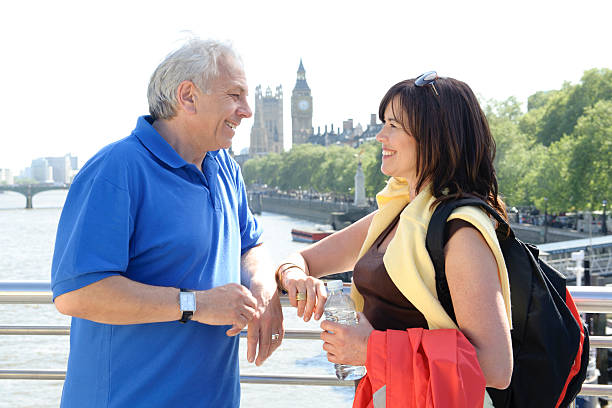 Mature Couple by River Thames and Big Ben stock photo