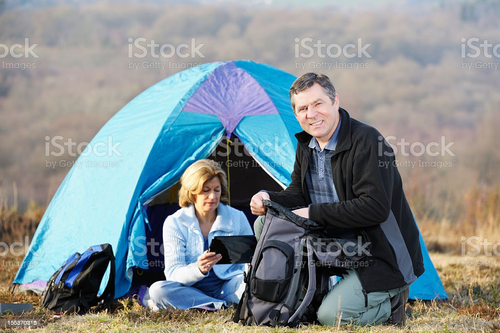 Mature Couple Camping royalty-free stock photo