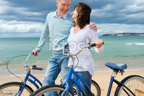 959016450 istock photo Mature couple cycling on the beach 187071372
