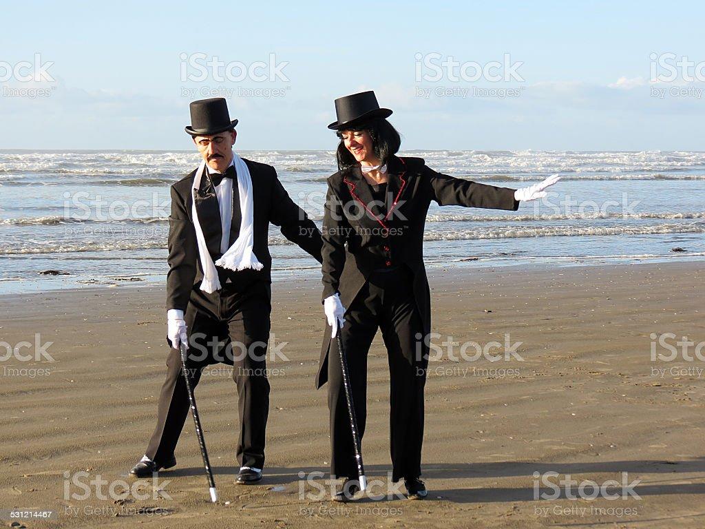 Mature couple dancing stock photo