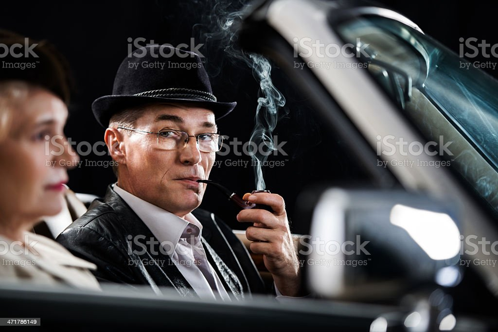 Mature couple driving in the car. royalty-free stock photo