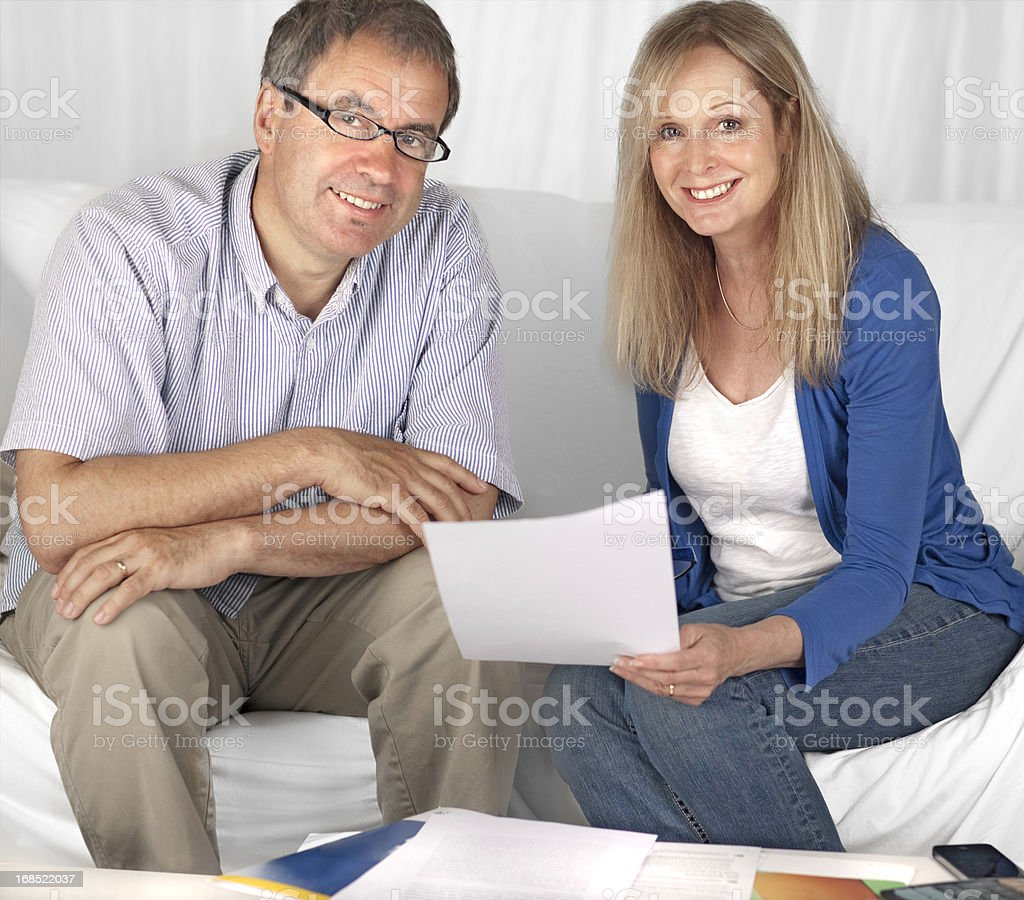 Mature couple: Financial planning royalty-free stock photo