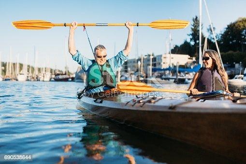 690538774 istock photo Mature Couple Has Fun Kayaking 690538644