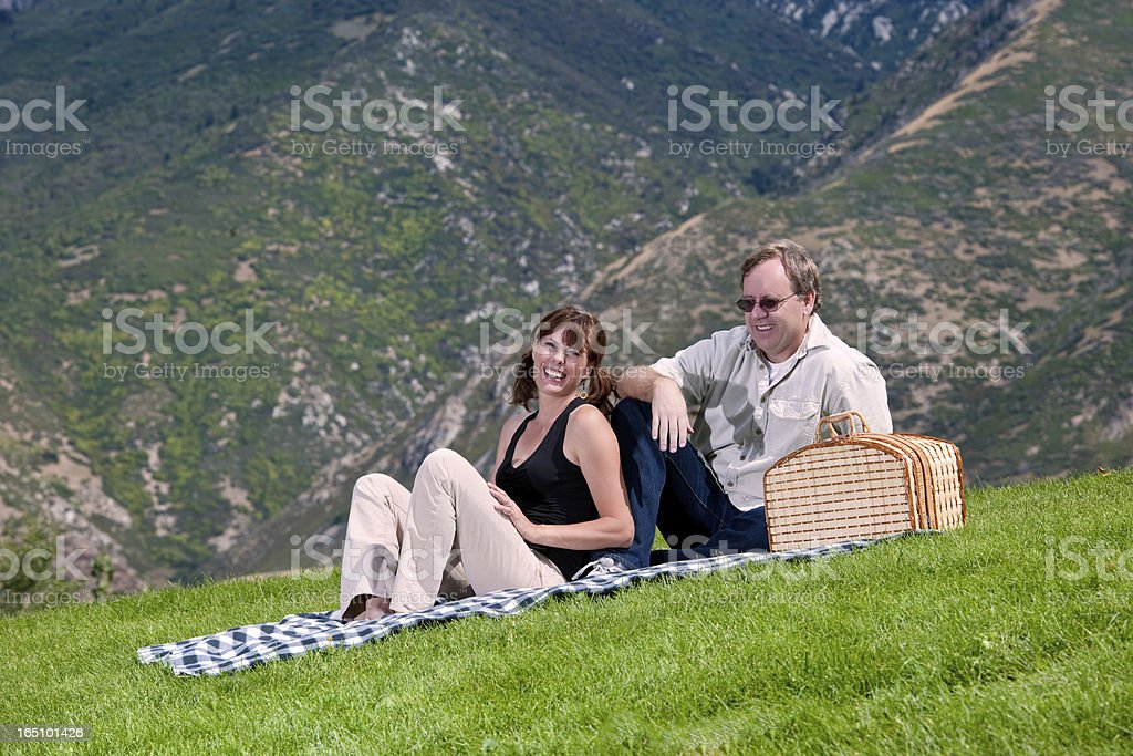 Mature Couple Having A Picnic stock photo