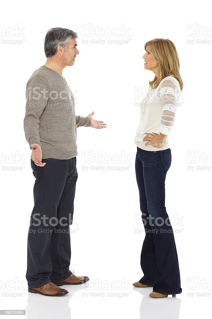 Mature couple having an argument over white stock photo