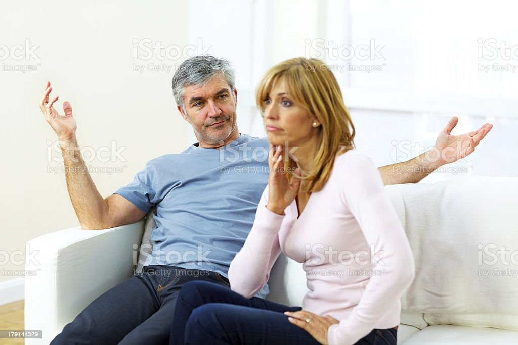 Mature couple having an argument royalty-free stock photo