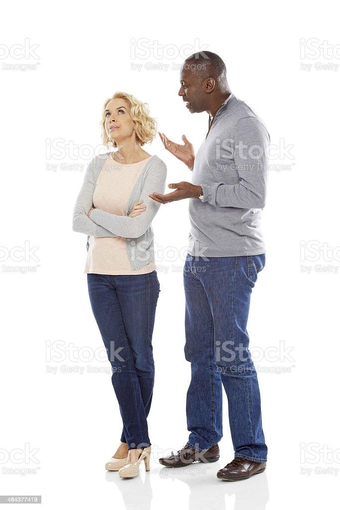 Mature couple having an argument stock photo