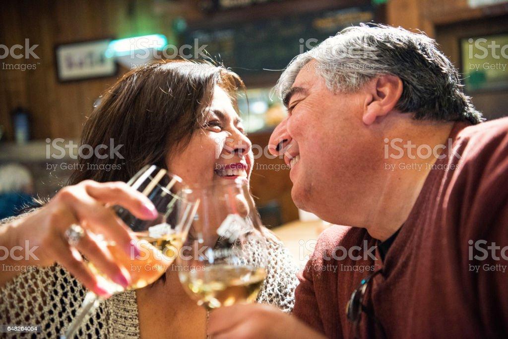Mature couple having fun stock photo