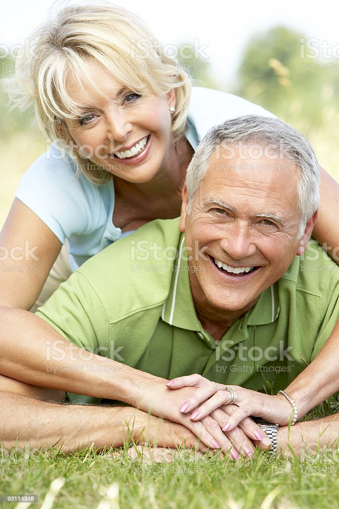Mature couple having fun royalty-free stock photo