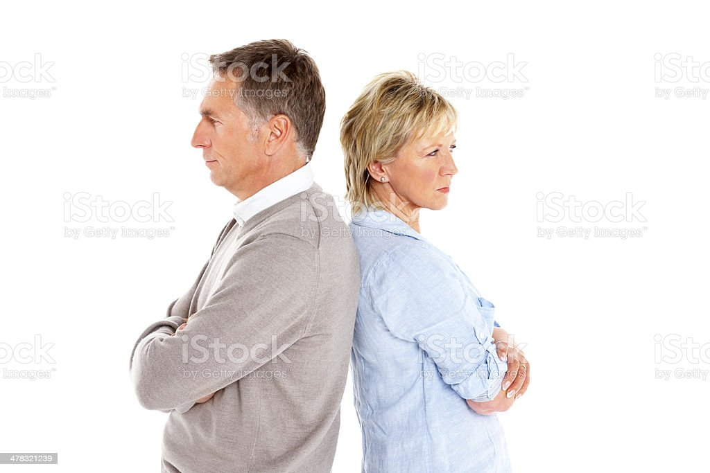 Mature couple having relationship conflict stock photo