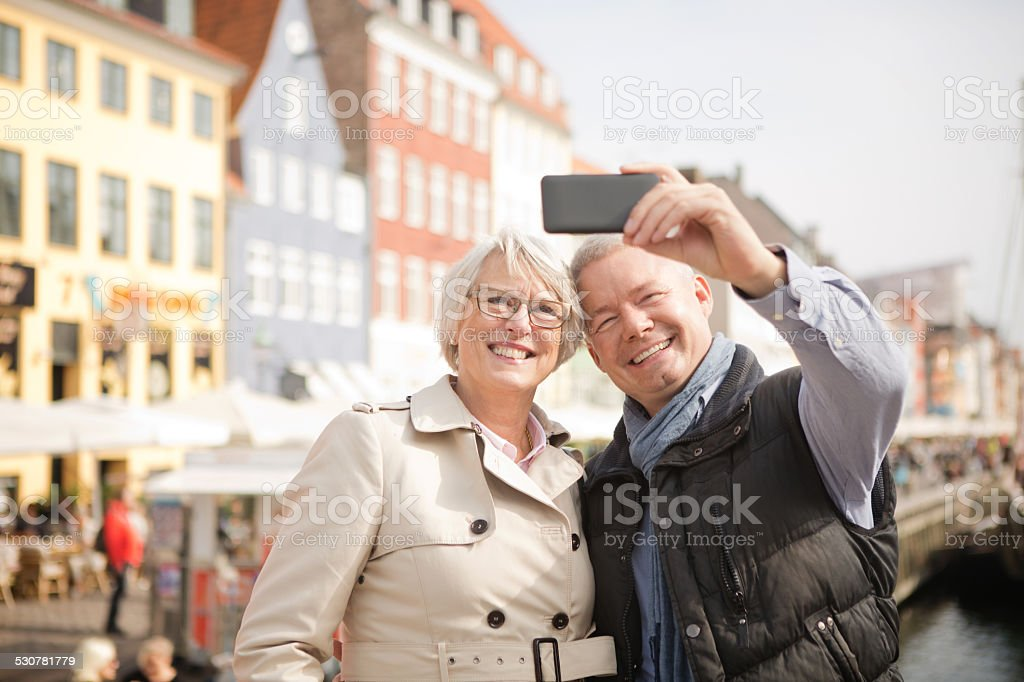 Mature couple in a city. stock photo