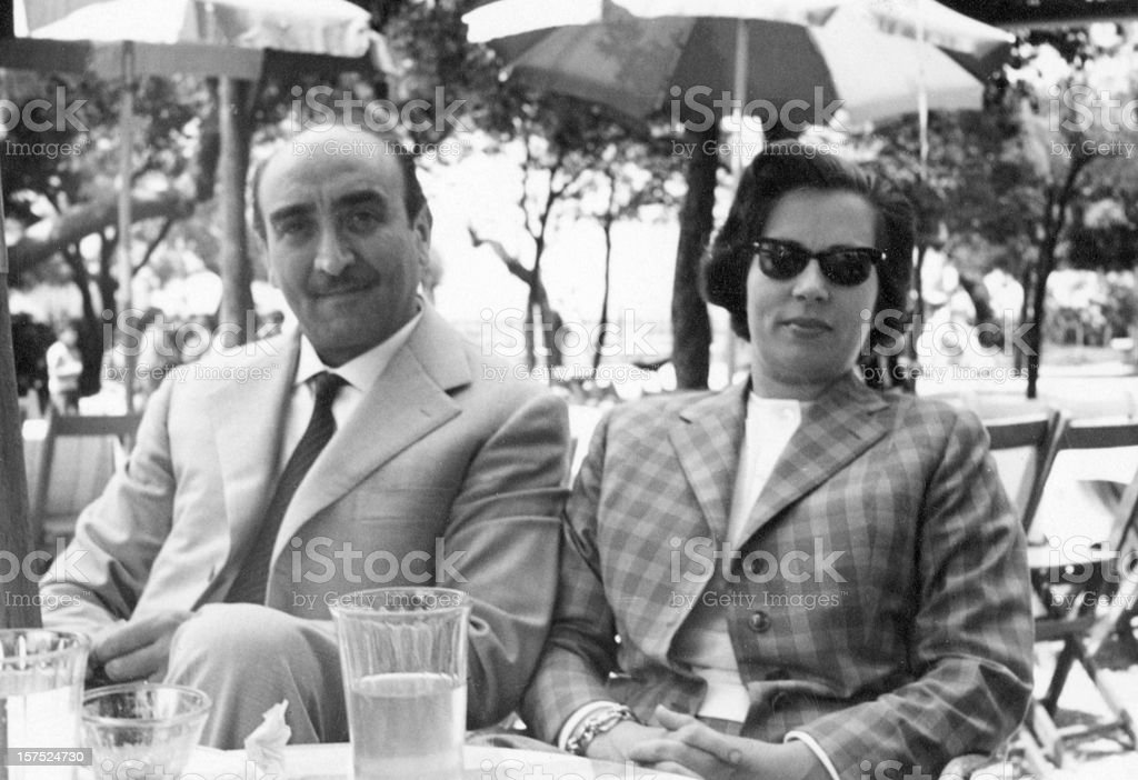 Mature Couple in a Sidewalk Cafè,1952.Black And White stock photo