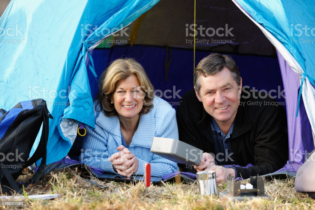 Mature Couple In A Tent stock photo