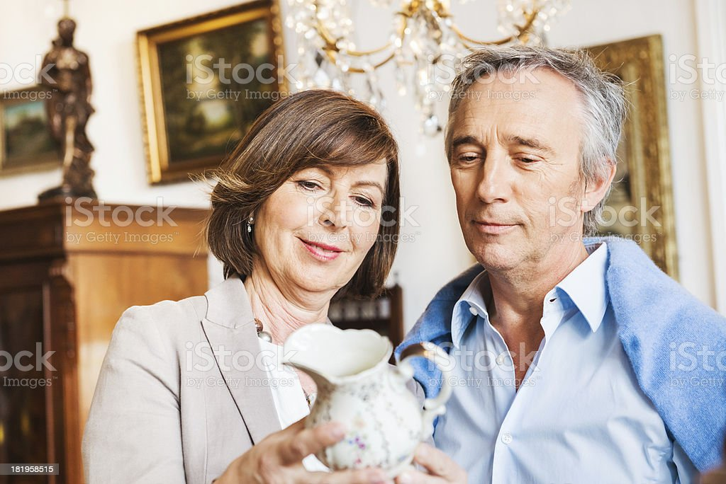 Mature Couple in Antique Store stock photo