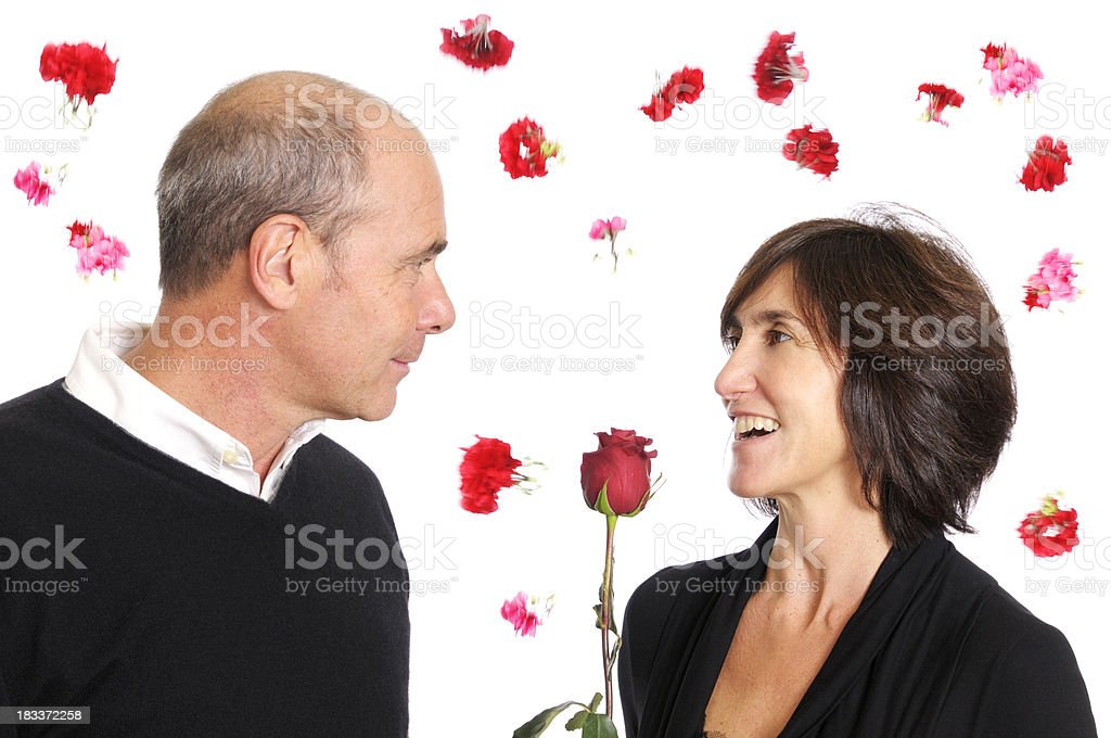 Mature Couple in Love on Valentine's Day royalty-free stock photo