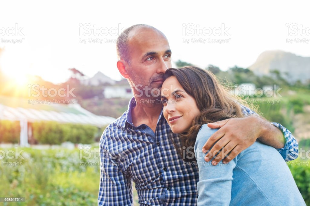 Mature couple in love stock photo