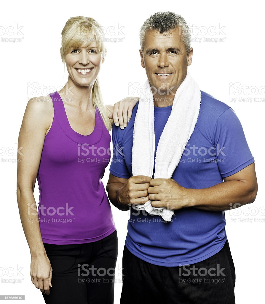 Mature Couple in Workout Wear - Isolated royalty-free stock photo