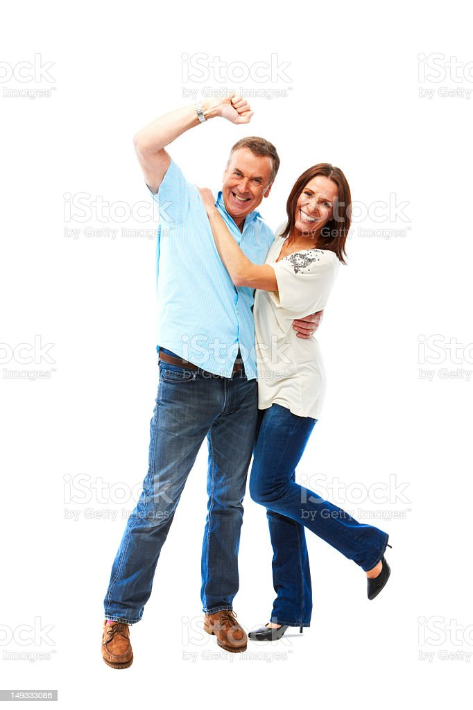 Mature couple isolated on white background celebrating royalty-free stock photo