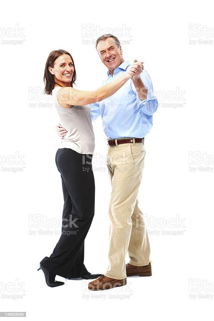Mature couple isolated on white background dancing royalty-free stock photo