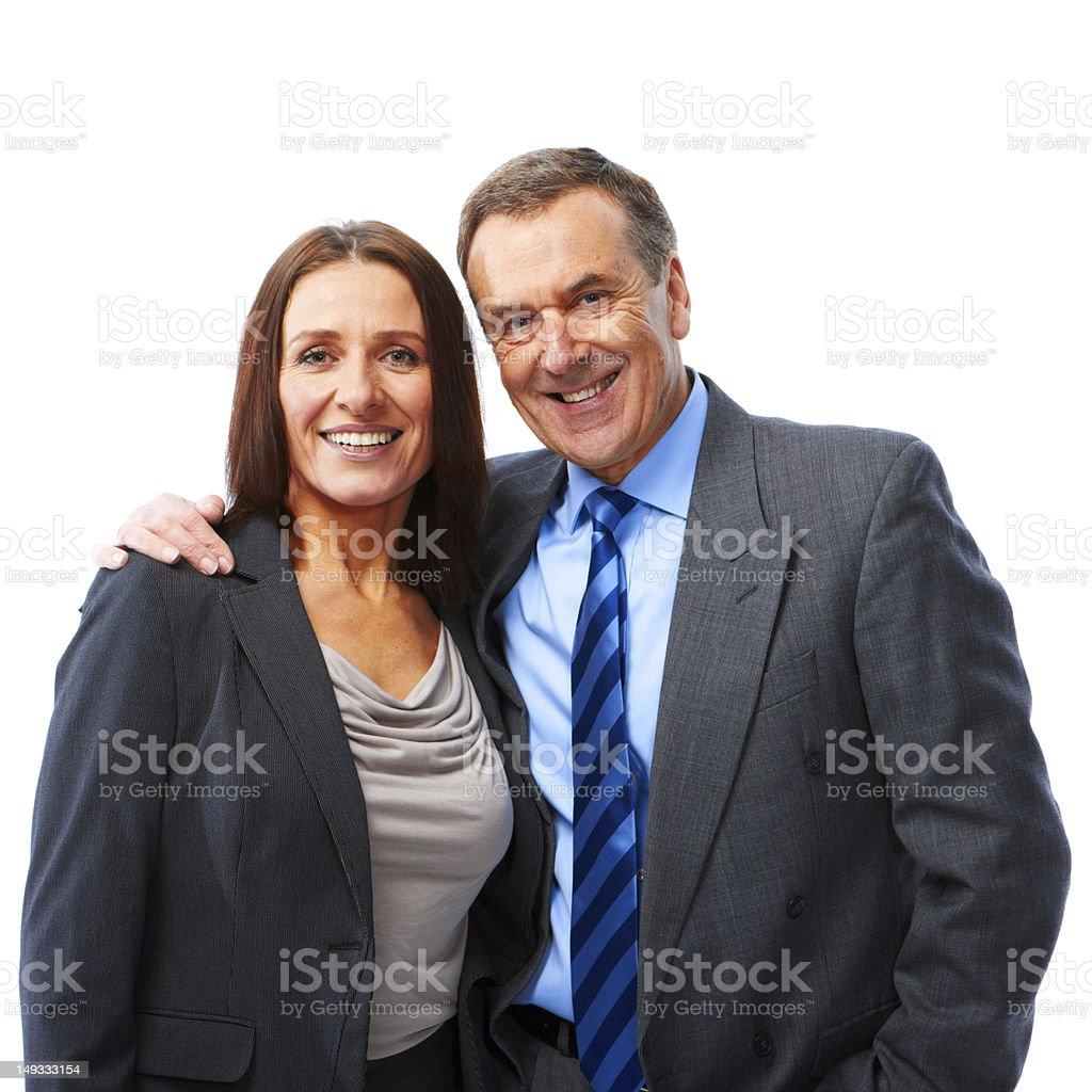 Mature couple isolated on white background stock photo