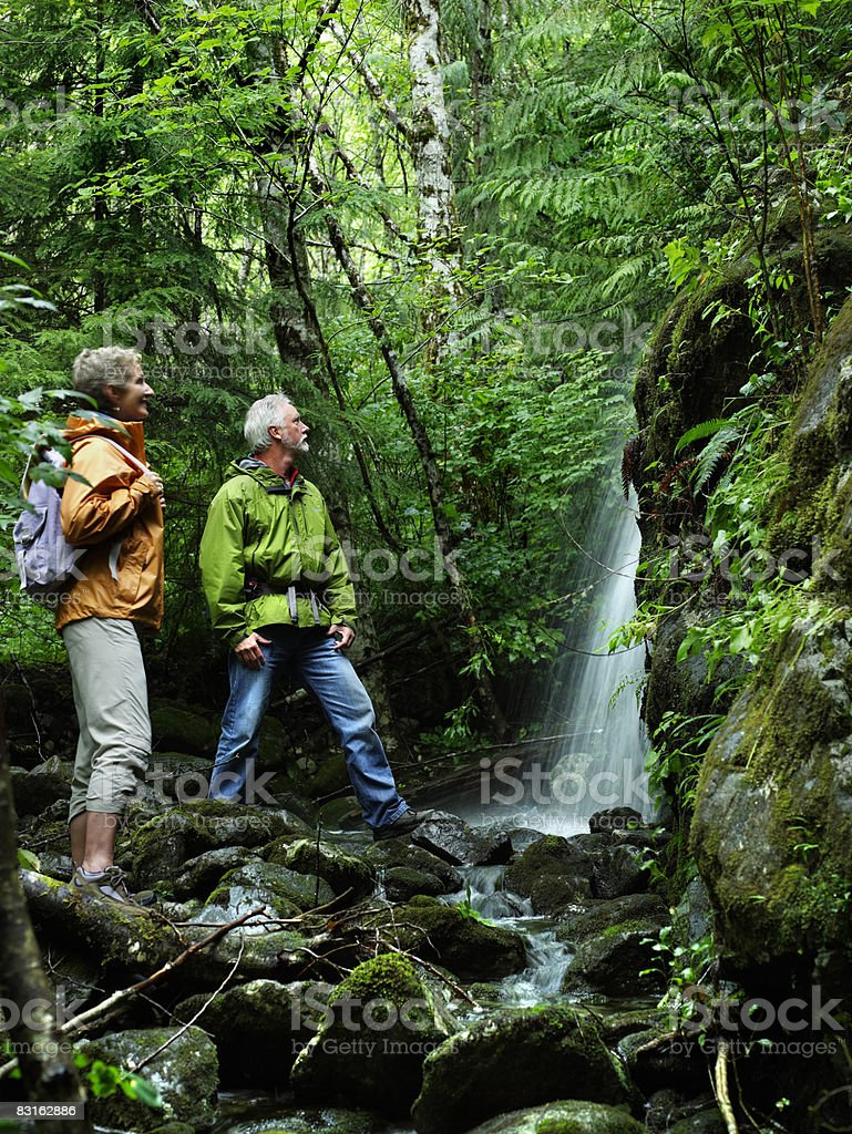 Mature couple looking at small waterfall. royalty free stockfoto