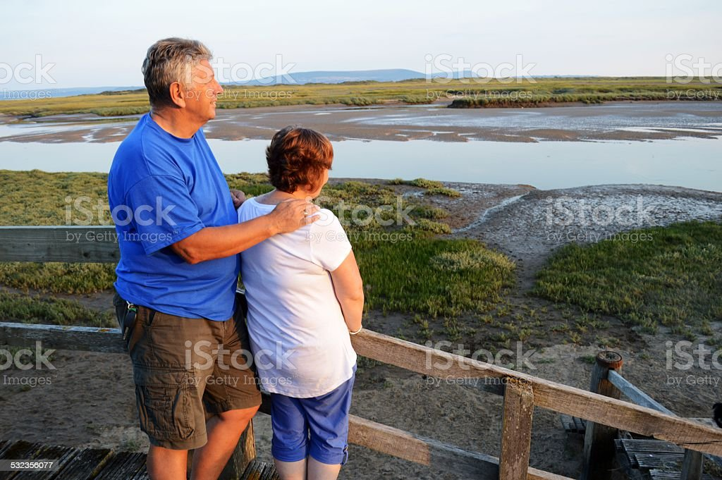 Mature couple looking over bay stock photo