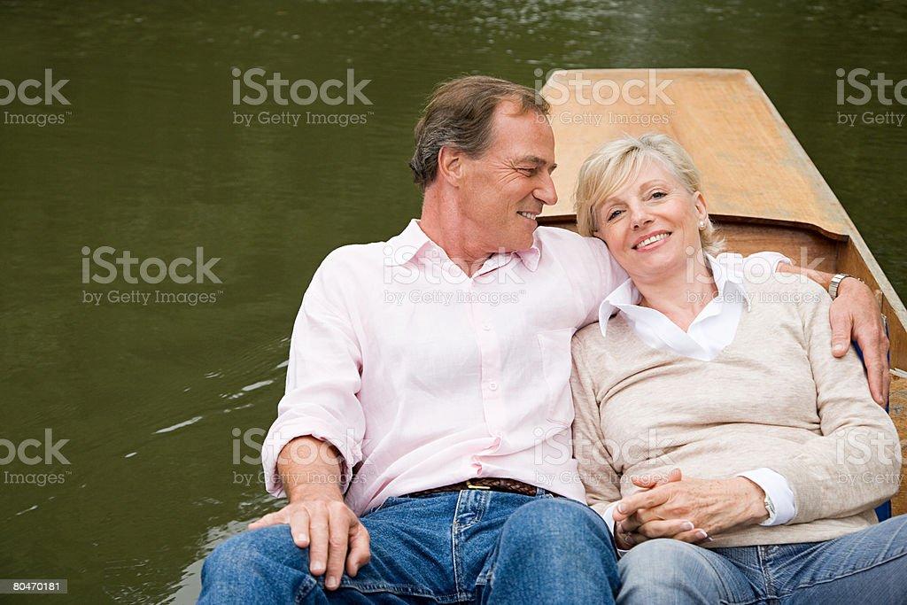 Älteres Paar auf einem Boot Lizenzfreies stock-foto