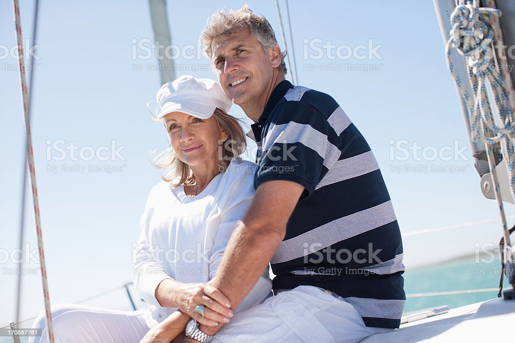 Mature couple on boat royalty-free stock photo