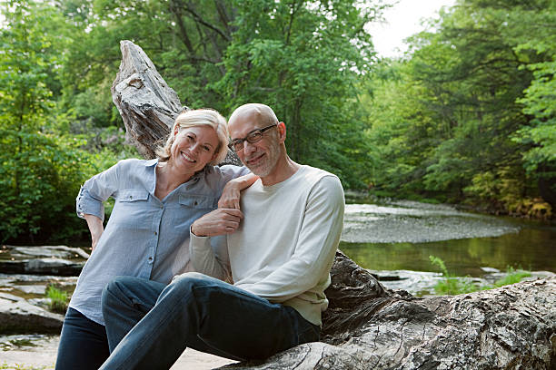 Mature couple outdoors in rural scene stock photo