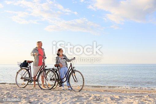 istock Mature couple outdoors on the beach 477525840