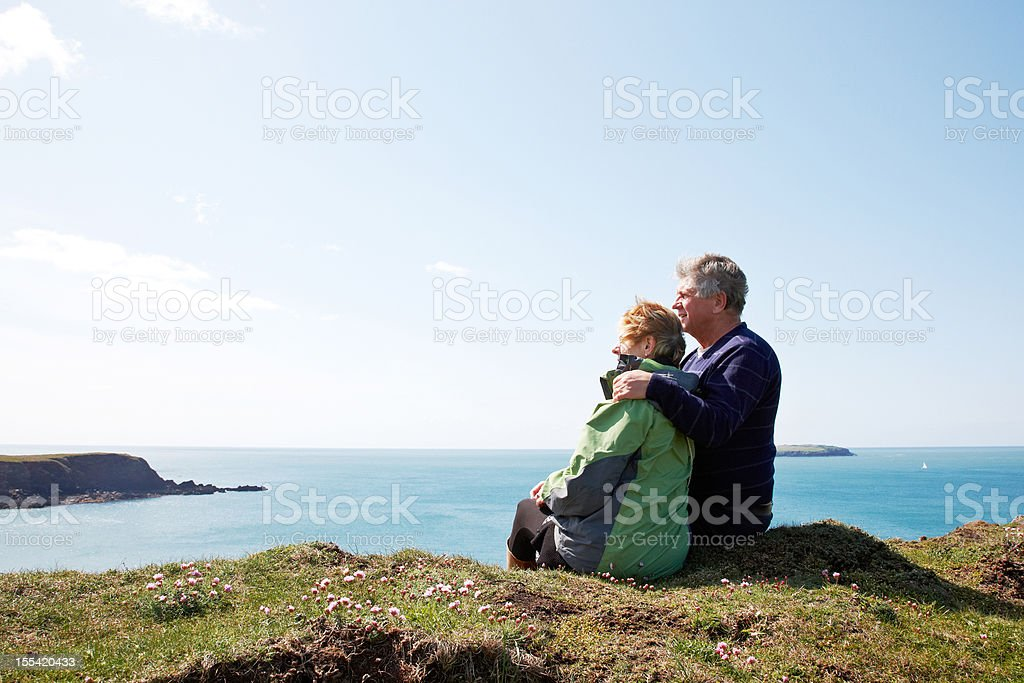 Mature couple outdoors portrait royalty-free stock photo