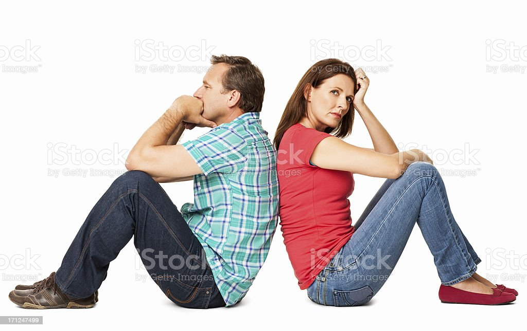 Mature Couple Sitting Together - Isolated stock photo