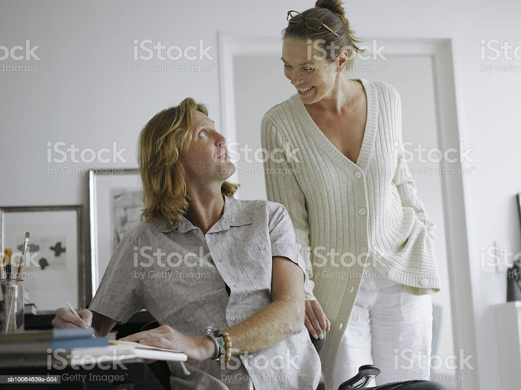Mature couple smiling face to face royalty-free stock photo