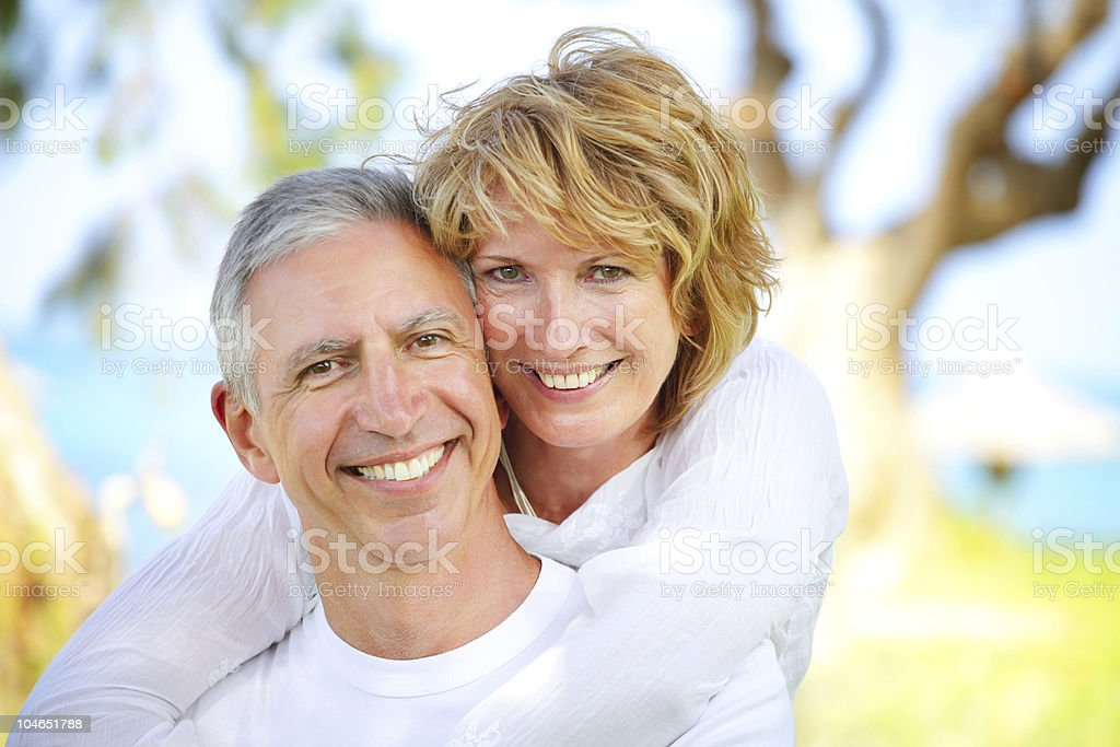 Mature couple smiling royalty-free stock photo