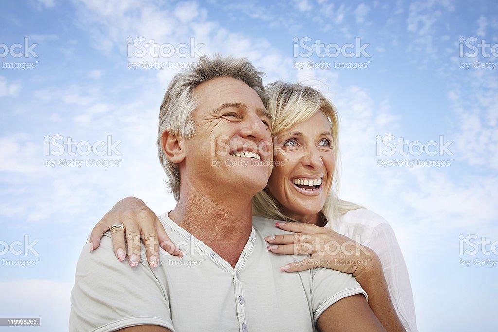 Mature couple smiling stock photo