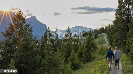 istock Mature couple walk down trail at sunrise 1187808850