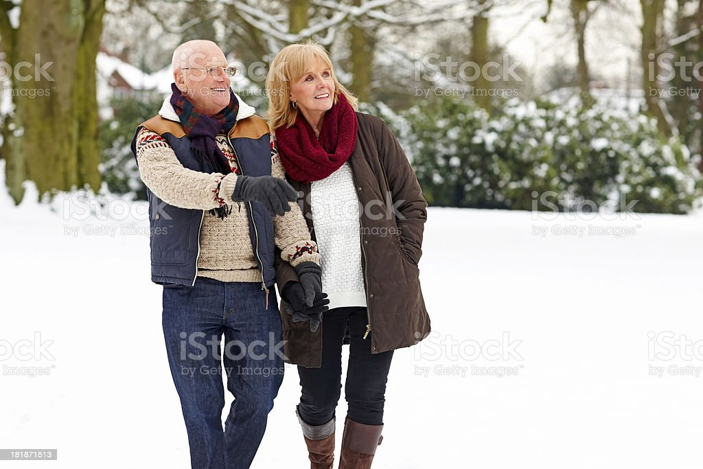 Mature couple walking outdoors in snow stock photo