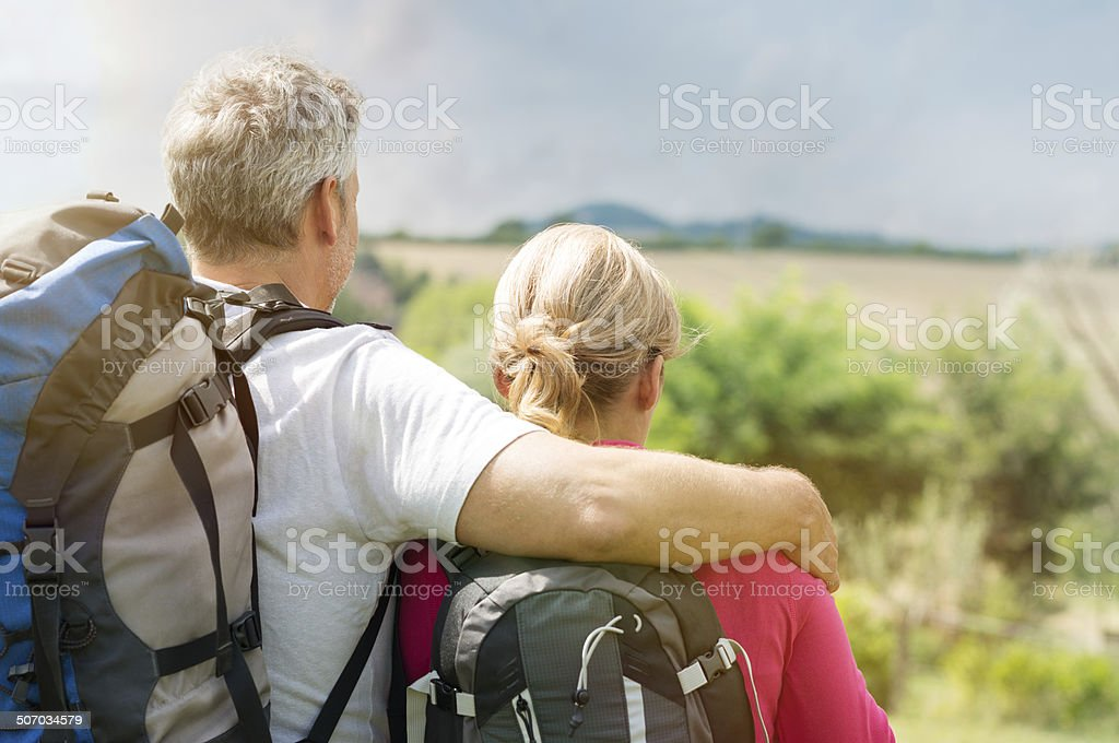 Mature Couple With Backpack stock photo