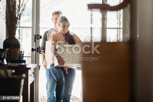 istock Mature Couple with Moving Boxes in New Home 914979586