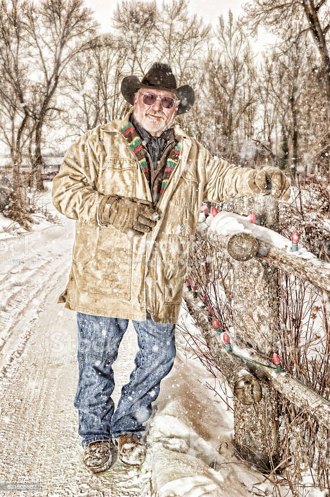 Mature Cowboy In Winter Setting stock photo