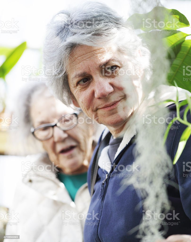 Mature Daughter With Mother at Public Garden royalty-free stock photo