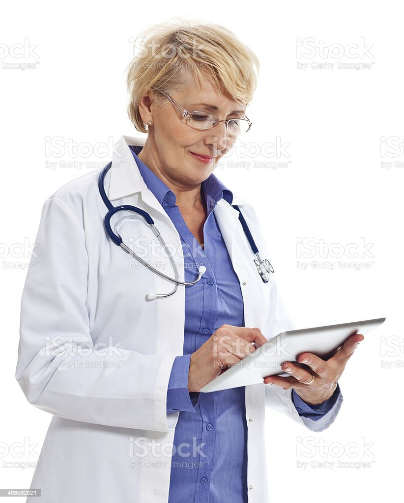 Mature Doctor with Digital Tablet Portrait of mature female doctor using a digital tablet. Studio shot on a white background. 60-64 Years Stock Photo