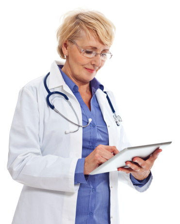 Mature Doctor With Digital Tablet Stock Photo - Download Image Now