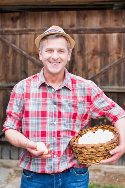 Agricultor maduro llevando huevos orgánicos en cesta - foto de stock
