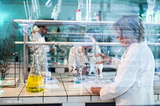 499203366 istock photo Mature female biochemist working on new research in laboratory. 1139015689