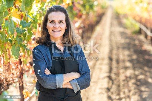 istock Mature female business owner posing at her vineyard 1058170486