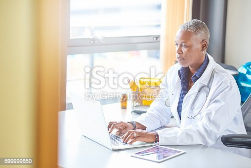 istock mature female doctor in her office 599999850